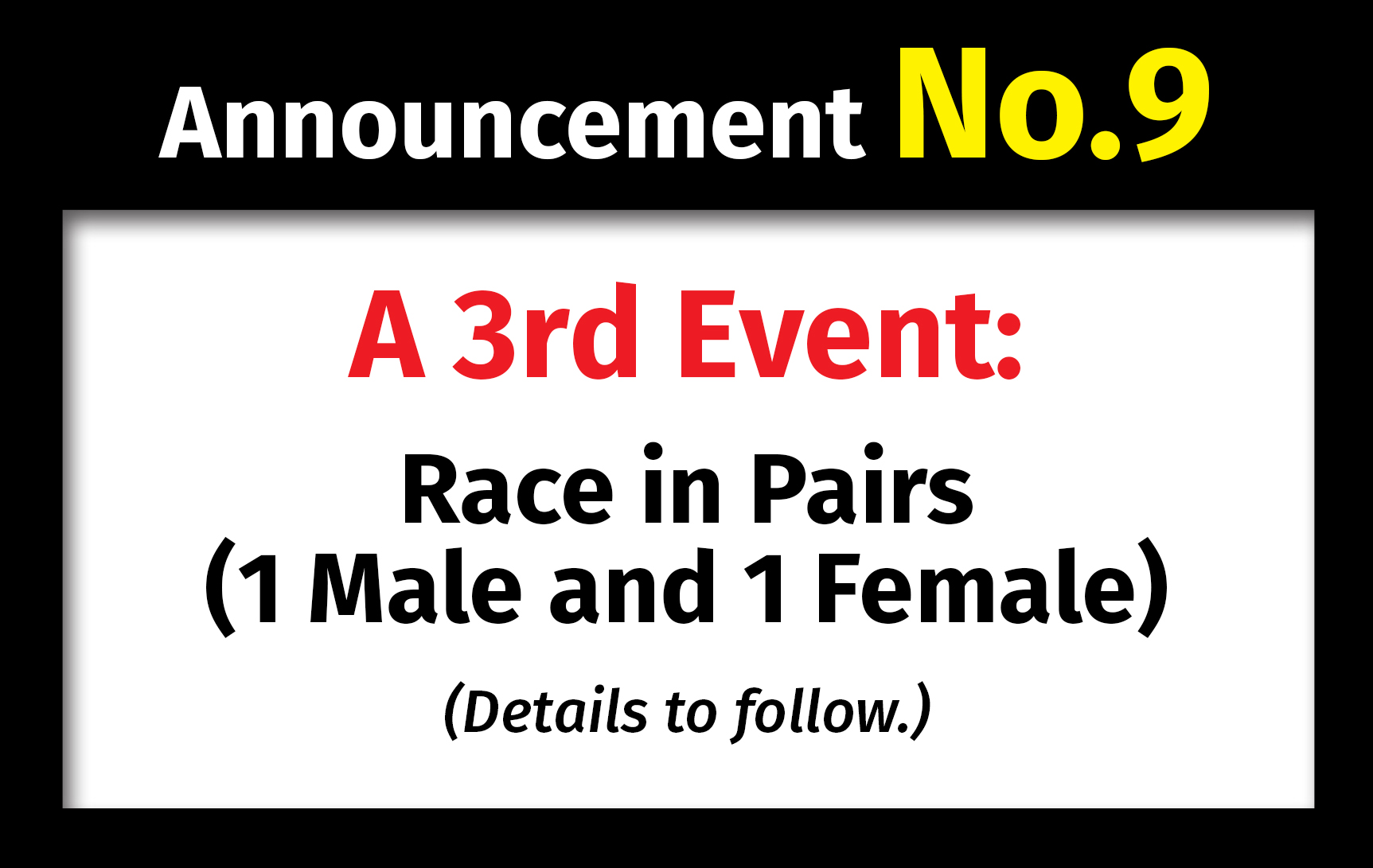 1st Asian OCR Championships. Announcement No.9